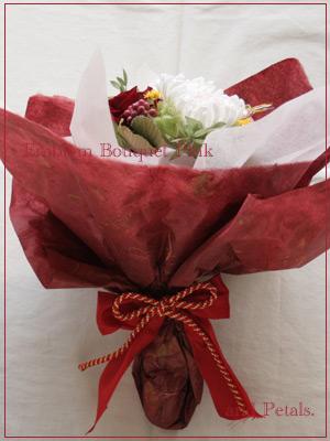 プリザーブドフラワーの菊を使ったピンクの和風花束