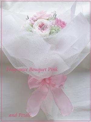 プリザーブドフラワーのオールドローズが華やかなピンクの花束