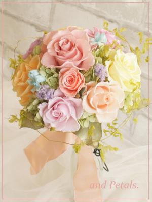 プリザーブドフラワーのバラとブルースターのミックスカラーのカラフルなミニブーケ