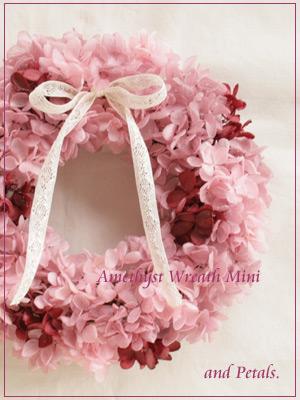 大人ピンクが可愛いプリザーブドフラワーのアジサイリース