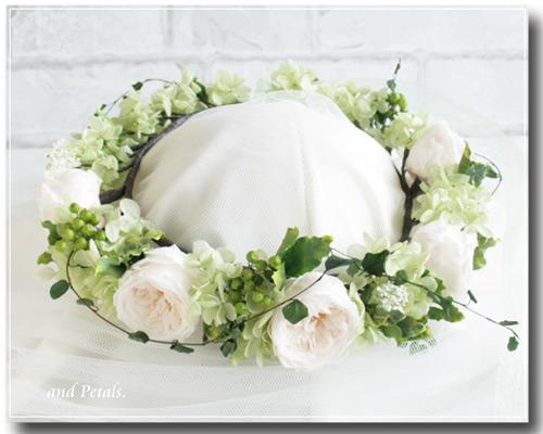 プリザーブドフラワーのオールドローズを使ったナチュラルは花冠
