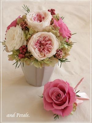 ご両親への花束贈呈用アレンジメントとブトニア