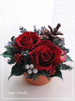 プリザーブドフラワーのバラを使ったナチュラルなクリスマスアレンジメント