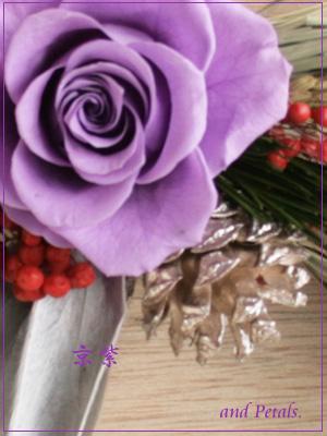 しっとり高貴なお色のプリザーブドフラワーのお正月飾り・しめ縄飾り