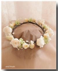 CR001 オフホワイトのバラのクラウン(花冠)