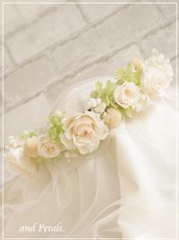 CR005 オフホワイトのバラとカスミソウのナチュラルクラウン(花冠)
